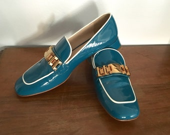PRADA - SALE 20% - 90s Prada Loafers - Prada Patent Leather Turquoise Moccasin - Vintage Prada Shoes Size 41 IT