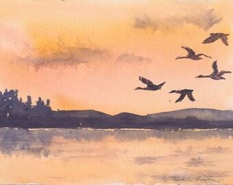 Sunset Flight-- Geese Flying-- Original Watercolor