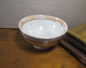 Vintage Footed Bowl - Blue and Orange Lusterware Bands - Made in Japan