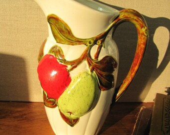 Pear and Apple Embossed Ceramic Pitcher