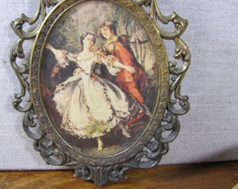 Action - Small Brass Oranate Framed Picture - French - Colonial Couple Dancing - Frame Made in Italy