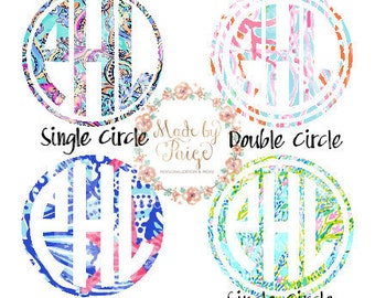 Lilly Pulitzer Inspired Natural Circle Monogram Decal