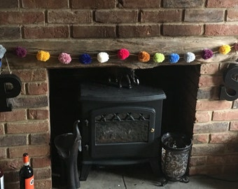 Multicoloured pom pom garland