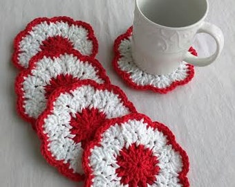 Crocheted Red & White Coasters, Set of 5