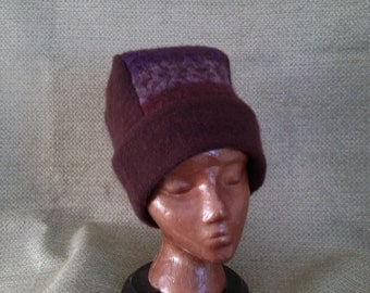Warm Felted wool hat from gently used 100% woool sweater.