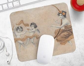 Mouse Pad Vintage Print MousePad Angel Mouse Mat MousePad Teacher Gift for Mom MouseMat Rectangular Mousemat Retro Mousepad Desk Accessories