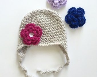 Crochet Hat Interchangeable Flower Baby Toddler Child Earflap Girls
