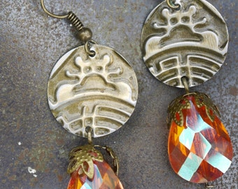 Orange Embossed Earrings