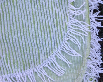 SALE!! Vintage double chenille green and white striped bedspread with fringe | ribbon pattern