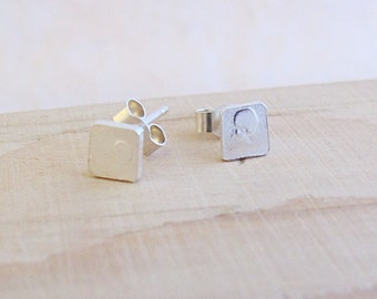 Sterling silver square stud earrings with etched polka dot pattern, odd, mis matched pattern, cute, unusual