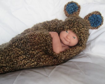Baby Boy/Girl Photo Prop Brown Bear Cocoon with Hat