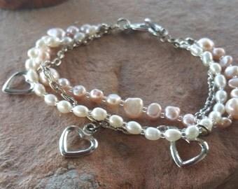 Cultured Pearl & Heart Charm Bracelet