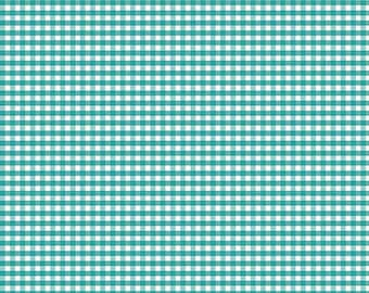 Small Teal 1/8 inch Gingham Check Fabric from Riley Blake