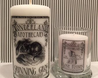 Alice in wonderland Apothecary label Decorative candle Hand decorated CANDLE