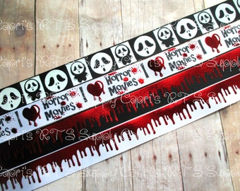 "7/8"" I Love Horror Movies Scream Inspired Halloween Scary Movies Gore Bloody Blood Drip US Designer Grosgrain Ribbon"