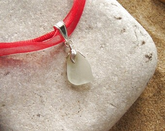Sea Glass Necklace, Red Necklace in English White Sea Glass, Red Organza Ribbon Pendant, Seaglass Jewelry, Hand Made, OOAK, Christmas Gifts