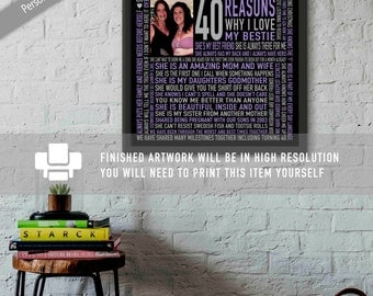 40th Birthday Gift for HER / For Best Friend / For SISTER / DIGITAL File / 40 Reasons Why We Love You / Unique Gift / Grey and Purple /