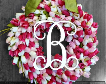 Wreaths with Initial,  Spring Wreaths for Front Door, Spring Decor, Tulip Wreath, Outdoor Wreath