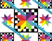 Colorful Star Checkered Board Quilt 150x150