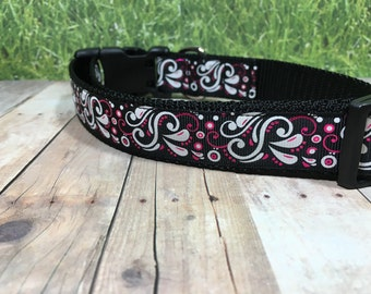 "The Cornet | Designer 1"" Width Dog Collar | CupcakePups Collars | Pink and Black Swirls - Medium/Large Dog Collar"