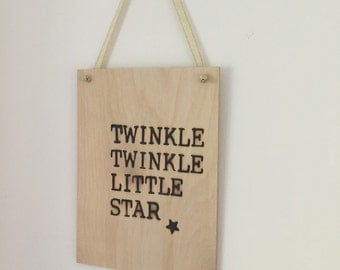 Small Wooden Hanging 'Twinkle Twinkle ' Nursery Sign