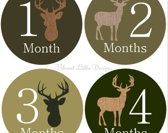 Baby Monthly Stickers Boy, Milestone Stickers, Month to Month Stickers, Camo, Antlers, Hunting, Deer, Baby Shower Gift #13