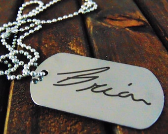 Remembrance Dog Tag or Keychain - Actual Handwriting -  Signature Keychain - Easy Ordering- Laser Engraved