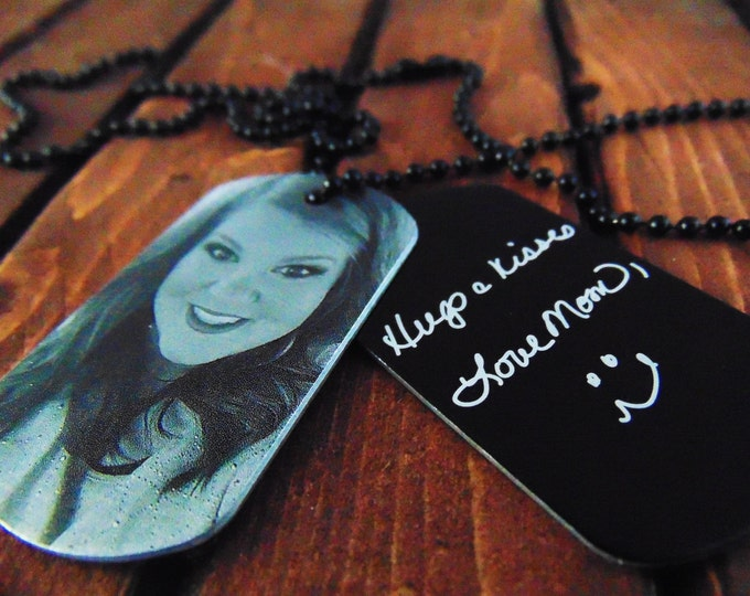 Engraved Picture Dog Tag - Handwriting Option - Personalized Text on Back - Memorial Gift - Gift for Dad