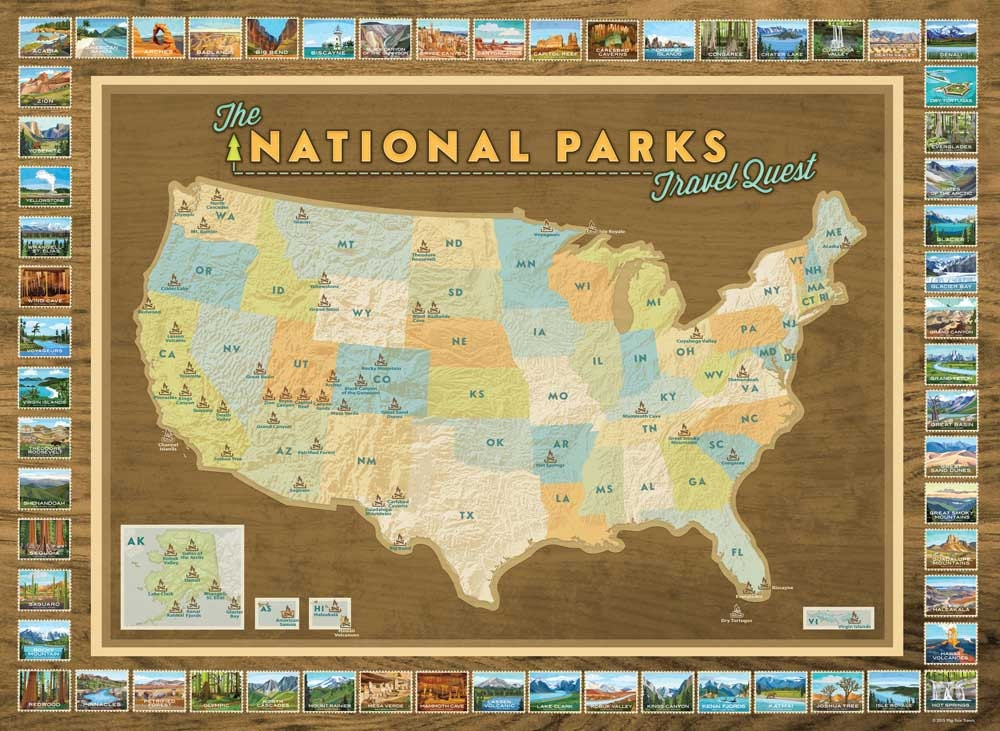 National Parks Travel Quest Poster: National Parks Of Usa Map At Codeve.org