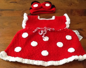 Minnie mouse inspired, Red poka dot dress