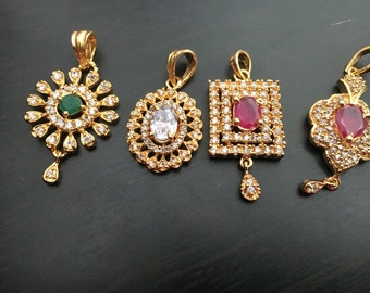 CZ Cubic Zirconia necklace- Gold plated Jewelry- Indian Jewelry