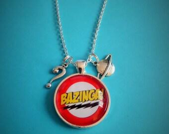 "Big Bang Theory inspired ""BAZINGA"" 25mm glass dome necklace - fan gift  - xmas - sheldon"