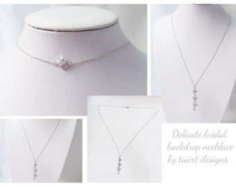 silver back necklace, silver backdrop necklace, art deco back necklace wedding, back drape necklace, drop back necklace, back drop jewelry