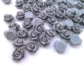 Grey 10mm rose cabochons, cute flower cabs