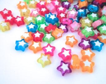 9mm Multicolor Star Beads, Kawaii beads #728