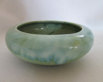 Vintage Green with Blue Drip Glaze Art Pottery Planter Bowl Made in USA .01 5