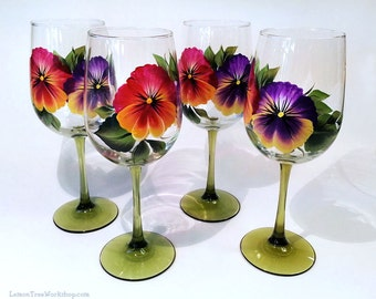 Hand Painted Pansies Wine Glasses Set of 4 Red Purple Pansy Stemware