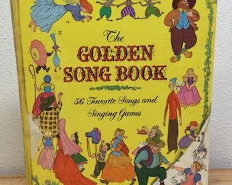 1945 Golden Song Book, Favorite songs, singing games, hard cover, vintage childrens book, wessells & elliott, antique book, hard to find