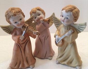 Homco Musical Angel Figurines ~ Set of Three ~ Orange Pink Yellow ~ Vintage