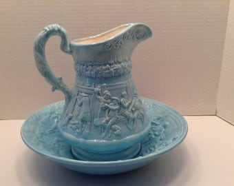 Vintage Blue Wash Basin or Wash Bowl and Pitcher  Embossed Scene of People Drinking and Dancing Shabby Chic