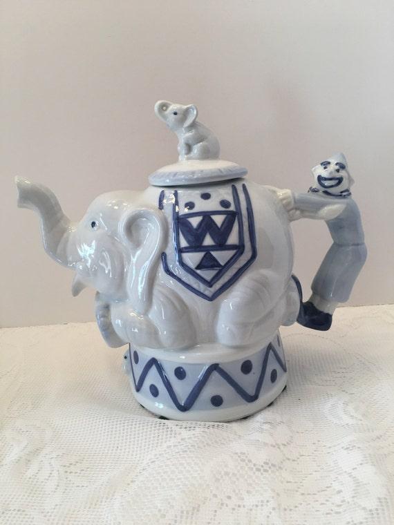 Bombay company teapot elephant clown teapot blue and - Elephant shaped teapot ...