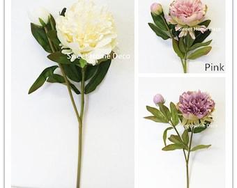 JennysFlowerShop 23'' Silk Princess Peony Artificial Flower Single Stem