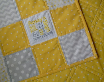 Personalized Baby Quilt Baby Quilt with name Yellow Gray : yellow and gray baby quilt - Adamdwight.com