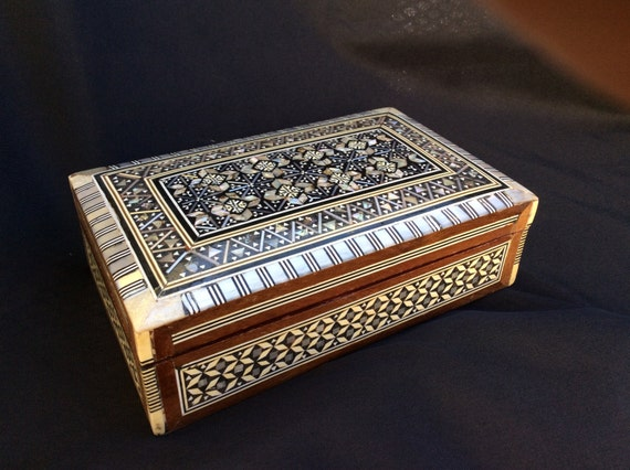 Mother Of Pearl Trinket Box Wooden Cigarette Mosaic Jewelry