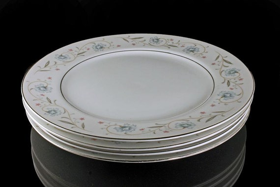 English Garden Platinum Plates, Fine China, Japan, Set of 4