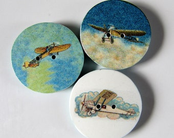 "Vintage plane buttons 'Flying High' - 3/4"" or 1""  (19mm or 24mm)"
