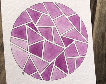 Geometric circle, watercolor and ink