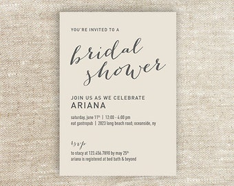 Beige Bridal Shower Invitation