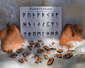 Elder Futhark Viking Rune Set / Etched Leather Pouch