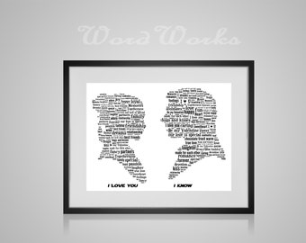 Personalised Princess Leia and Han Solo Word Art
